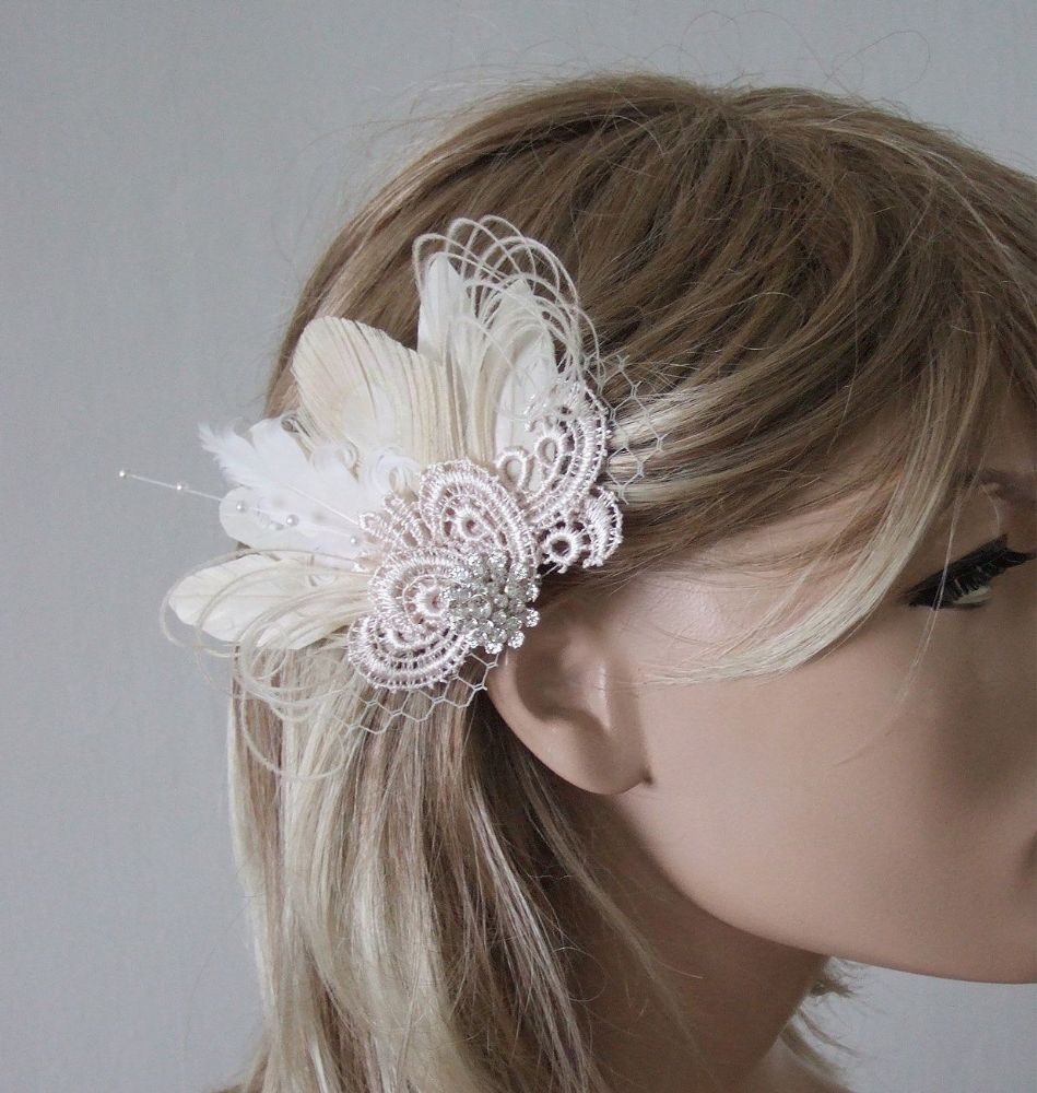 Cream White Peacock Feathers and Guipure Lace + Veil Bridal Wedding Fascinator Hair Clip